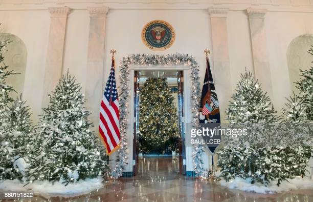 Christmas trees are seen during a preview of holiday decorations in the Grand Foyer of the White House in Washington DC November 27 2017 / AFP PHOTO...