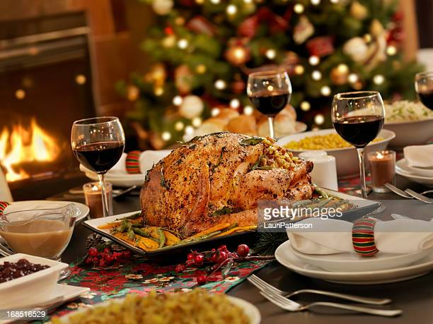 christmas turkey dinner - nut food stock photos and pictures