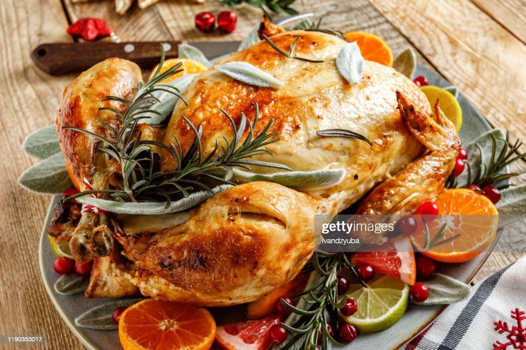 Christmas turkey for festive dinner : Stock Photo