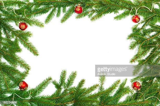 christmas twig frame - spruce tree stock pictures, royalty-free photos & images
