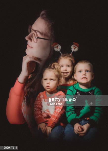 christmas ugly sweater retro portrait family - old ugly woman stock pictures, royalty-free photos & images