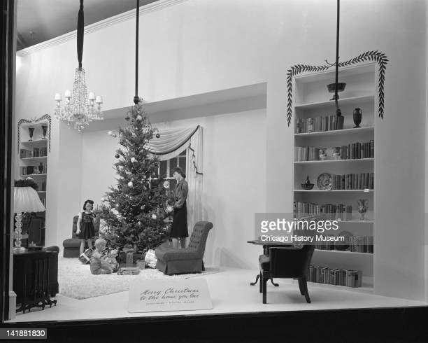 Christmas Windows at Marshall Field & Company, Furniture: 'Merry Christmas to the home you love' display, Chicago, Illinois, December 17, 1943.