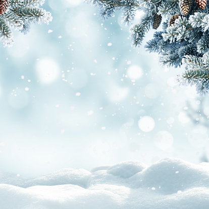 Christmas winter background with snow and blurred bokeh.Merry christmas and happy new year greeting card with copy-space. 1056850588