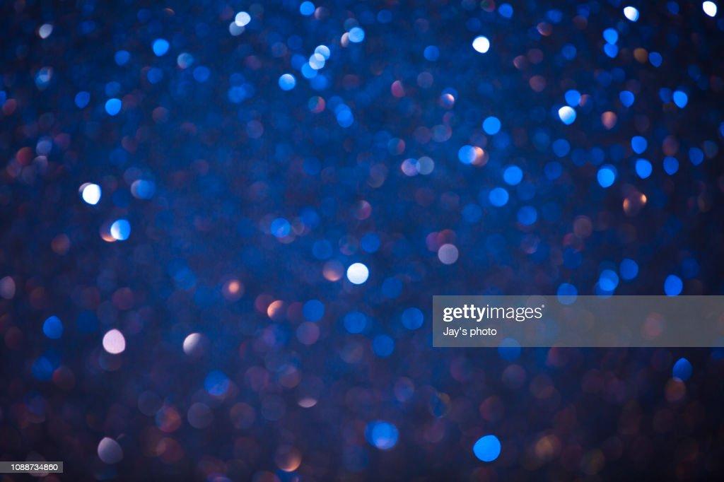 Christmas Winter Bokeh Light Blue Tones Background : Foto de stock