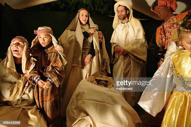 christmas with nativity scene - amateur theater stock pictures, royalty-free photos & images