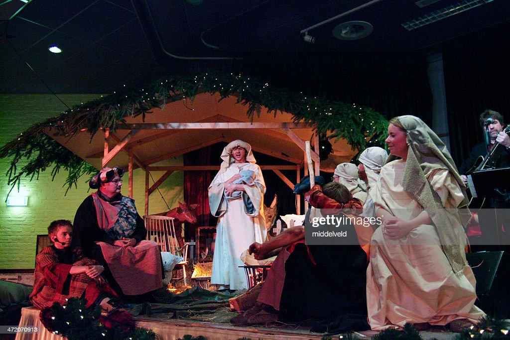 Christmas with nativity scene : Stock Photo
