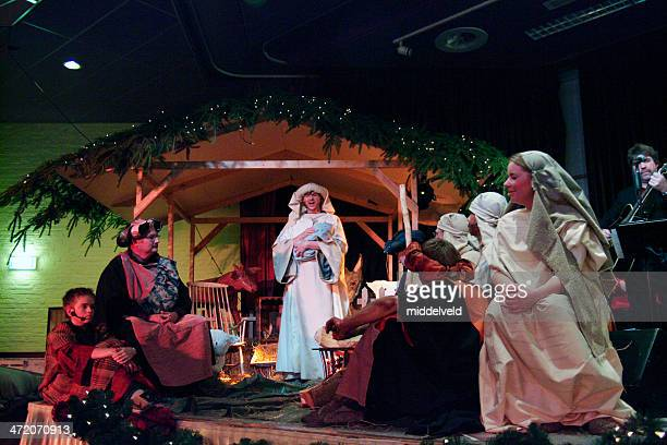 christmas with nativity scene - nativity stock photos and pictures