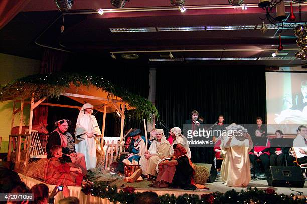 christmas with nativity scene - nativity scene stock photos and pictures