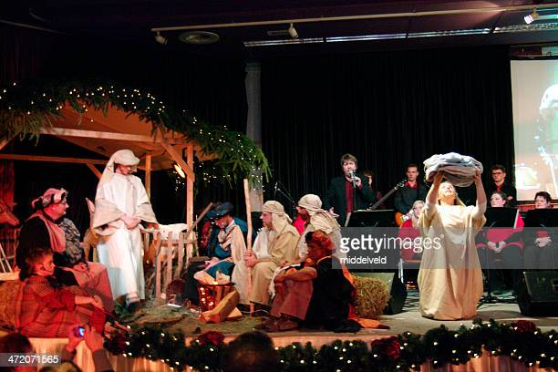 christmas with nativity scene - acting performance stock pictures, royalty-free photos & images