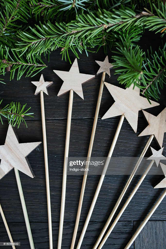Christmas wooden stars : Stock Photo