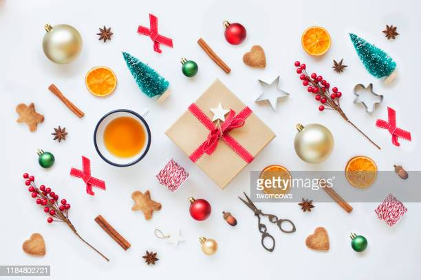 christmas wrapped gift box, art and craft decorative items on white background. - christmas decoration stock pictures, royalty-free photos & images