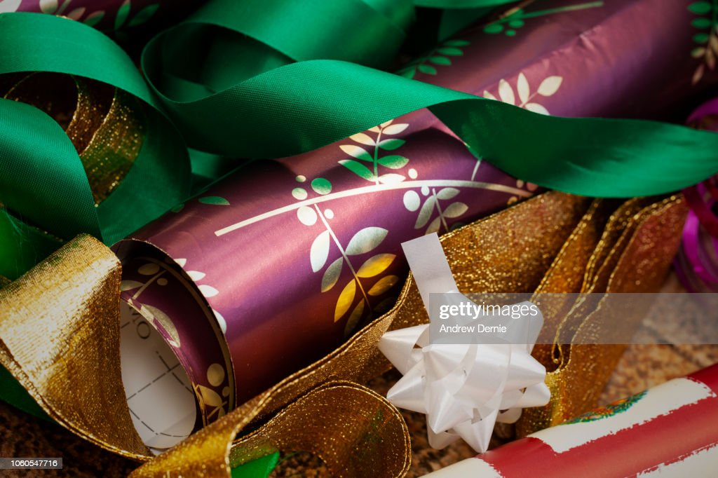 Christmas wrapping materials : Stock Photo