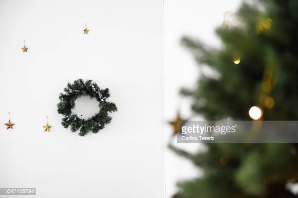 Christmas wreath hanging on a wall
