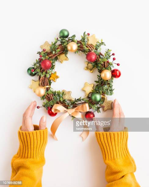 christmas wreath. - wreath stock pictures, royalty-free photos & images