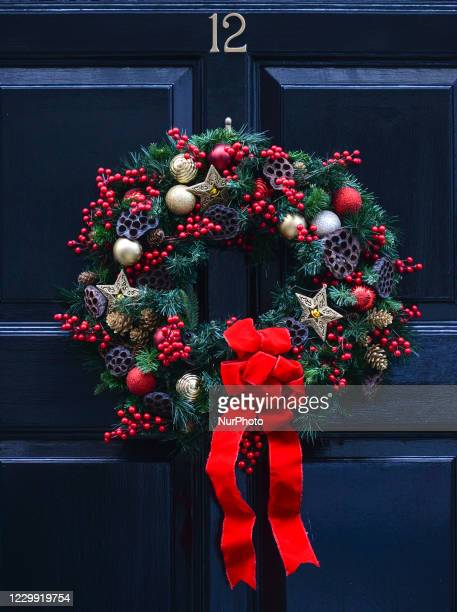 Christmas wreath seen on a door in Dublin city center. On Wednesday, December 2 in Dublin, Ireland.
