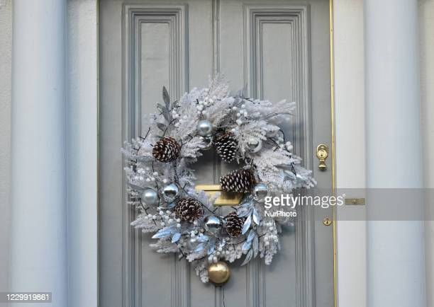 Christmas wreath seen on a door in Rathmines, area of Dublin. On Wednesday, December 2 in Dublin, Ireland.