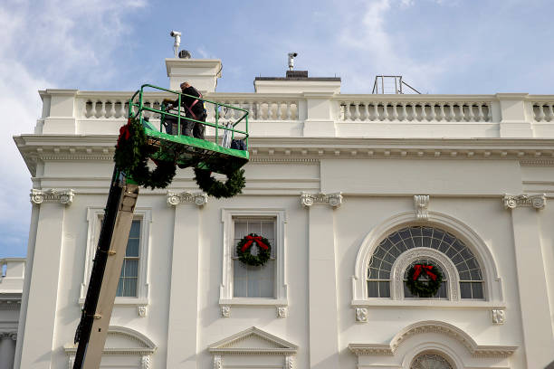 DC: Preparations Underway At The White House For The Holiday Season