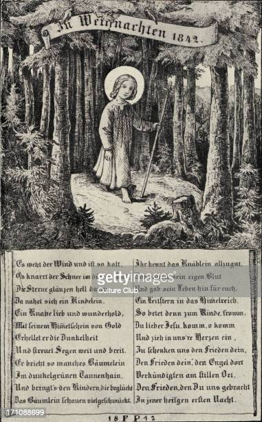 Christmas / Xmas illustration with Biblical references: wandering shepherd / Christ figure, with halo, in woodland scene, with German Christmas hymn....