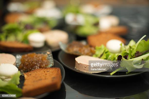 christmas'eve starter with foie gras - foie gras stock photos and pictures