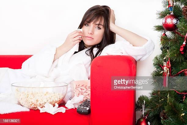 Christmas-Female watching sad movie