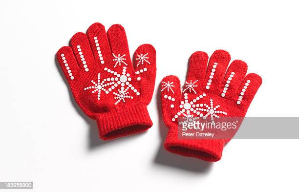 christmas/winter gloves - glove stock pictures, royalty-free photos & images