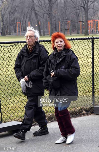 Christo and Jeanne Claude before The Gates are unfurled in Central Park in New York City on February 12 2005 The 23mile long pubic art installation...