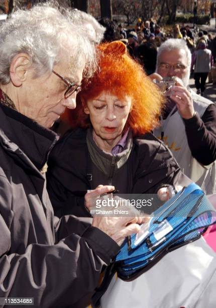 Christo and Jeanne Claude during Christo and Jeanne Claude Sign Volunteers' Vests in Central Park February 11 2005 at Central Park in New York City...