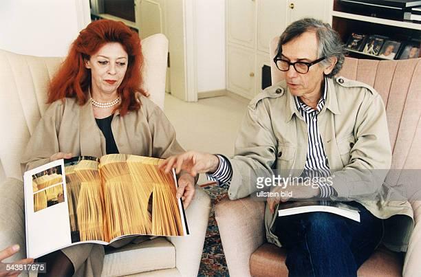 Christo Artist Painter Bulgaria together with his wife artist JeanneClaude book publication showing 'Pont Neuf' in Paris France October 1993