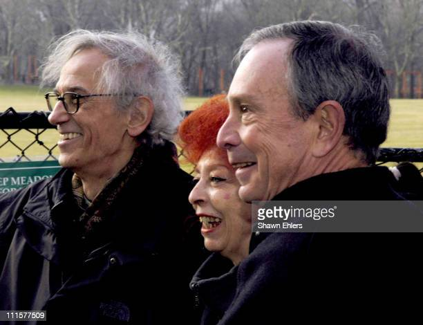 Christo Jeanne Claude and Mayor Michael Bloomberg at the unfurling of The Gates in Central Park in New York City on February 12 2005 The 23mile long...