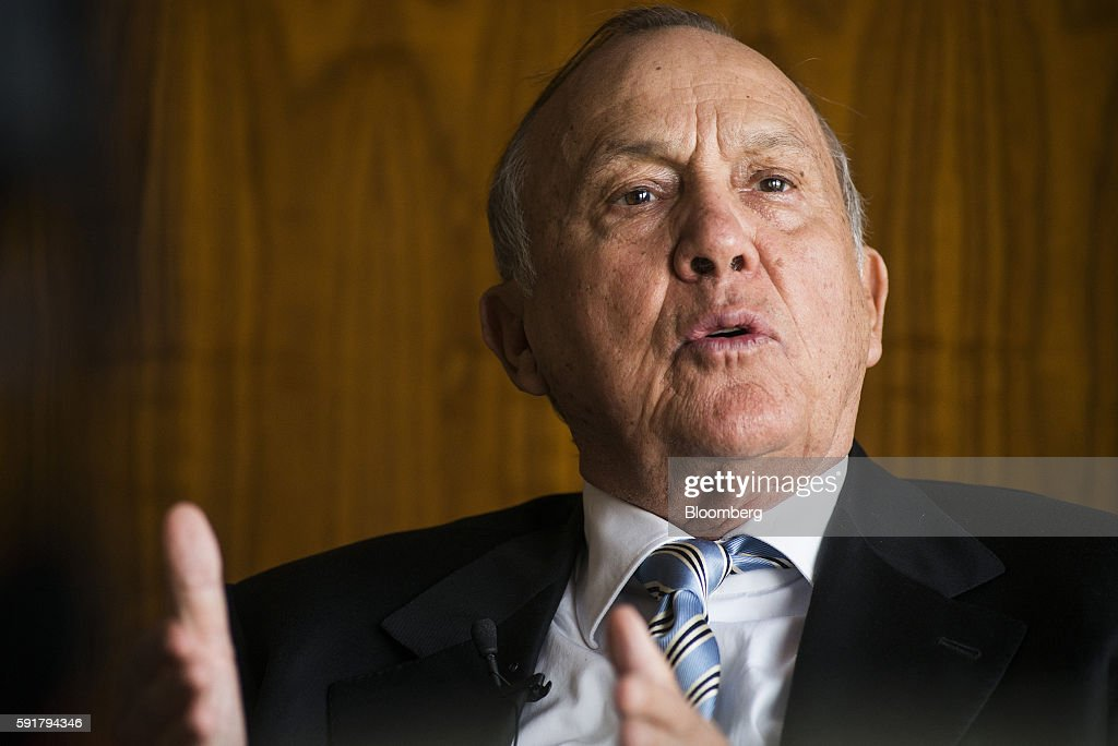 Christo Wiese, billionaire and chairman of Steinhoff Holdings NV, gestures whilst speaking during a Bloomberg Television interview at the Pepkor Holdings Pty Ltd. offices in Cape Town, South Africa, on Wednesday, Aug. 17, 2016. Steinhoff Holdings NV isn't done with deals yet and has the potential to double its market value over the next five years, according to Wiese, the chairman and largest shareholder of the acquisition-hungry South African retailer. Photographer: Waldo Swiegers/Bloomberg via Getty Images