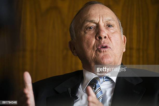 Christo Wiese billionaire and chairman of Steinhoff Holdings NV gestures whilst speaking during a Bloomberg Television interview at the Pepkor...