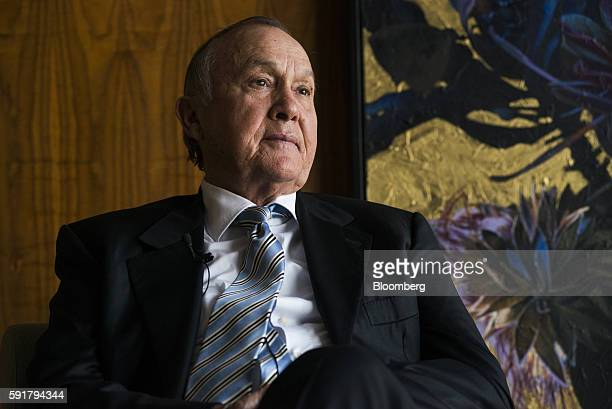 Christo Wiese billionaire and chairman of Steinhoff Holdings NV looks on during a Bloomberg Television interview at the Pepkor Holdings Pty Ltd...