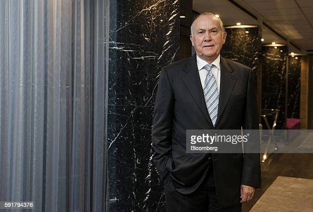 Christo Wiese billionaire and chairman of Steinhoff Holdings NV poses for a photograph following a Bloomberg Television interview at the Pepkor...