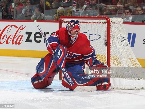 Christobal Huet of the Montreal Canadiens makes a toe save against the Toronto Maple Leafs at the Bell Centre on November 3 2007 in Montreal Quebec...