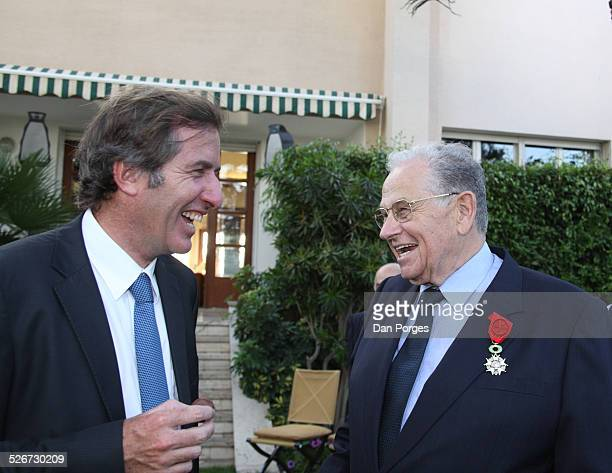Christof Bigot, French Ambassador to Israel talking to Joseph Ciechanover an Israeli diplomat and businessman who is wearing on his chest the Knight...