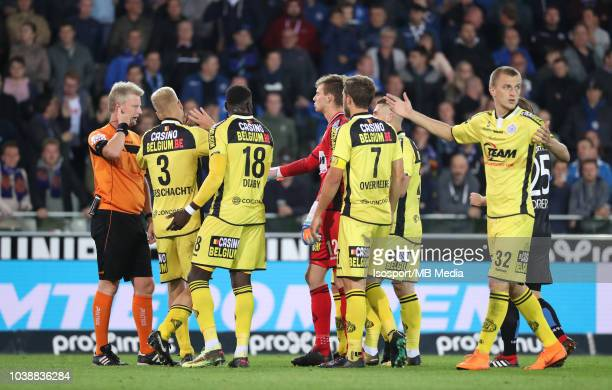 Christof Dierick reacts during the Jupiler Pro League match between Club Brugge and KSC Lokeren OV at Jan Breydel Stadium on September 14 2018 in...