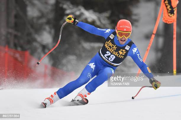 Christof Innerhofer from Italy competes during a training for the FIS Alpine World Cup Men Downhill on December 14 2017 in Val Gardena Italian Alps /...