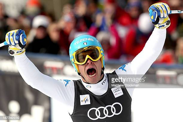 Christof Innerhofer of Italy celebrates after crossing the finish line during the men's downhill on the Birds of Prey at the Audi FIS World Cup on...