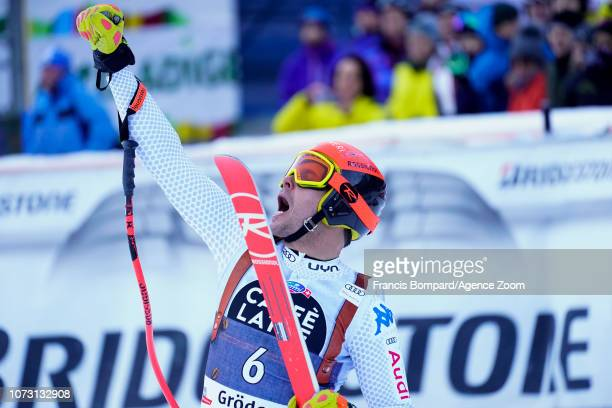 Christof Innerhofer of Italy celebrates during the Audi FIS Alpine Ski World Cup Men's Super G on December 14 2018 in Val Gardena Italy