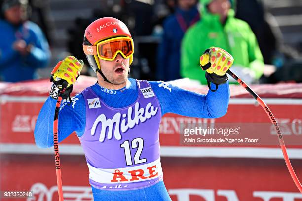 Christof Innerhofer of Italy celebrates during the Audi FIS Alpine Ski World Cup Finals Men's and Women's Super G on March 15 2018 in Are Sweden
