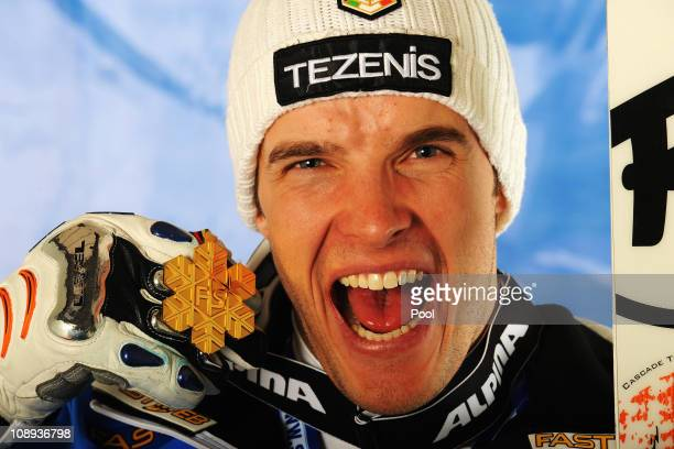 Christof Innerhofer of Italy celebrates with his gold medal after winning in the Men's Super G during the Alpine FIS Ski World Championships on the...