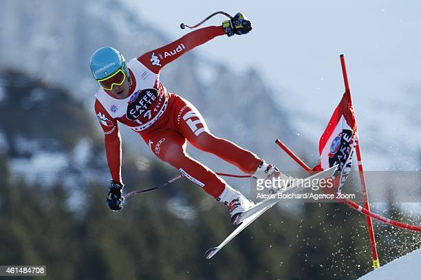 Christof Innerhofer of Italy competes during the Audi FIS Alpine Ski World Cup Men's Downhill Training on January 13 2015 in Wengen Switzerland