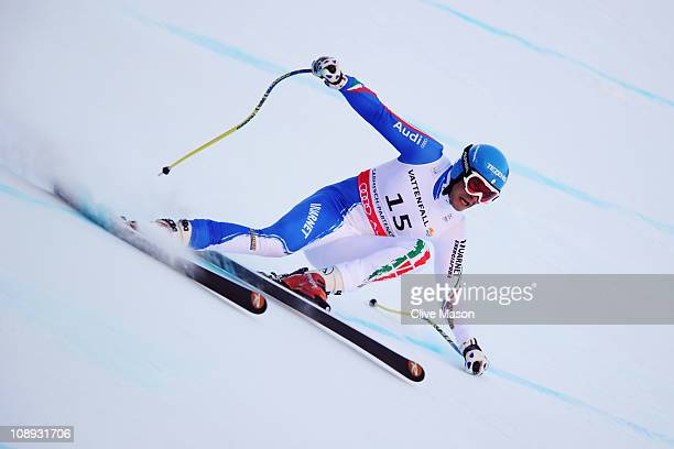 Christof Innerhofer of Italy competes on his way to winning the Men's Super G during the Alpine FIS Ski World Championships on the Kandahar course on...