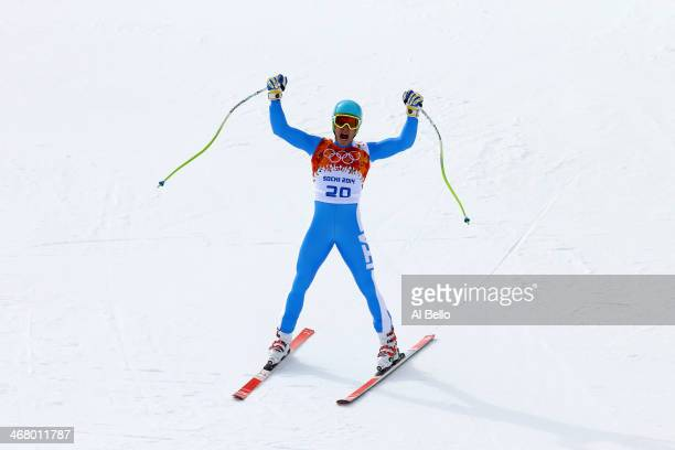 Christof Innerhofer of Italy finishes a run during the Alpine Men's Downhill on day two of the Sochi 2014 Winter Olympics at Rosa Khutor Alpine...
