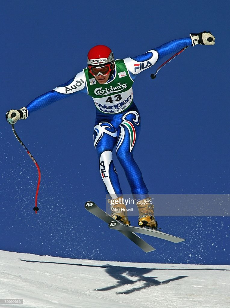 Christof Innerhofer of Italy flies over the Hundschopf jump during the Men's Audi FIS Ski World Cup Downhill race on January 13, 2007 in Wengen, Switzerland.