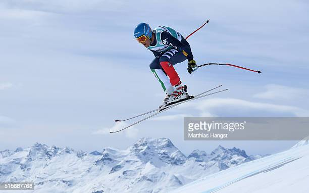 Christof Innerhofer of Italy in action during the Audi FIS Alpine Skiing World Cup downhill training on March 15 2016 in St Moritz Switzerland