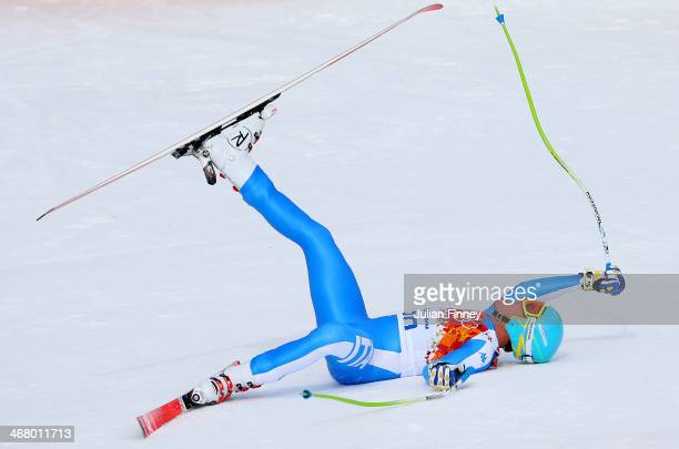 Christof Innerhofer of Italy jubilates during the Alpine Men's Downhill on day two of the Sochi 2014 Winter Olympics at Rosa Khutor Alpine Center on...