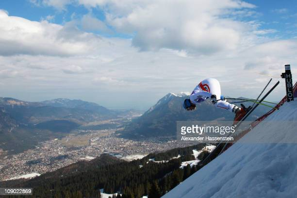 Christof Innerhofer of Italy leaves the starting gate to ski in the Men's Downhill during the Alpine FIS Ski World Championships on the Kandahar...