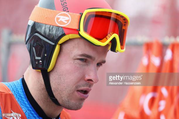 Christof Innerhofer of Italy looks on during the Men's Downhill Alpine Skiing training at Jeongseon Alpine Centre on February 9 2018 in...