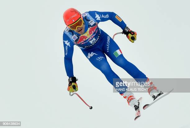 Christof Innerhofer of Italy performs during a training session of the FIS Alpine World Cup Men's downhill event in Kitzbuehel Austria on January 18...